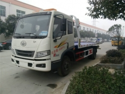FAW 4*2 8 ton flatbed wrecker truck