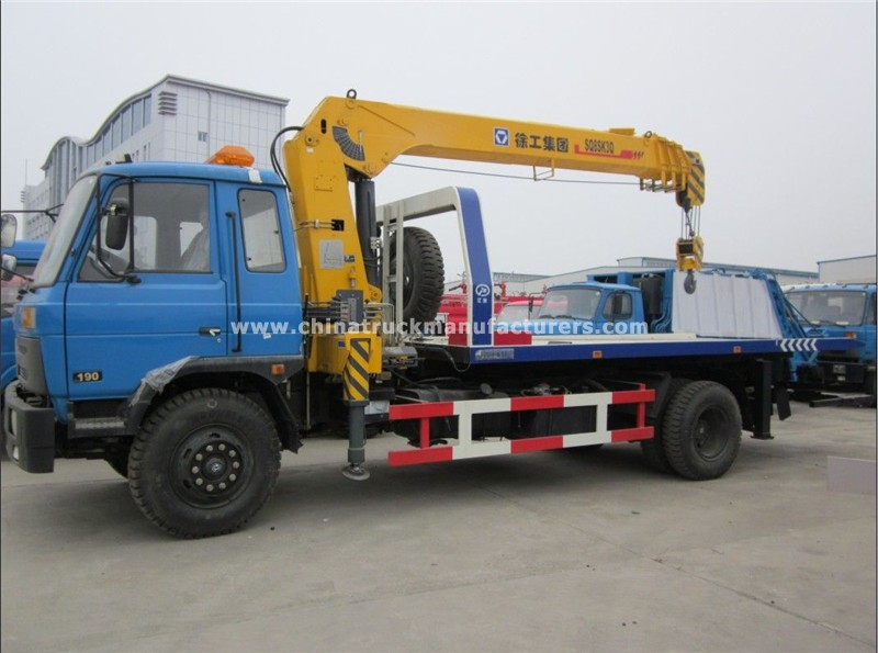 dongfeng flatbed tow truck with crane for sale cheap price china truck manufacturers com. Black Bedroom Furniture Sets. Home Design Ideas
