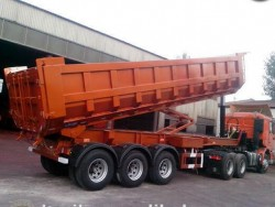 3 axle 30CBM 40CBM volume rear tipping semi trailer